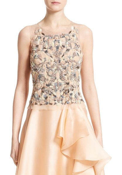 Badgley Mischka Couture badgley mischka couture beaded top in peach