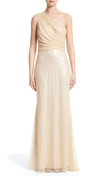 Badgley Mischka Couture badgley mischka couture one shoulder beaded mesh gown in champagne - Artfully draped from one shoulder, an ethereal mesh gown...