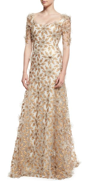 Badgley Mischka Couture Floral-Appliqué Half-Sleeve Gown in copper - Badgley Mischka Couture tulle gown with 3D floral...