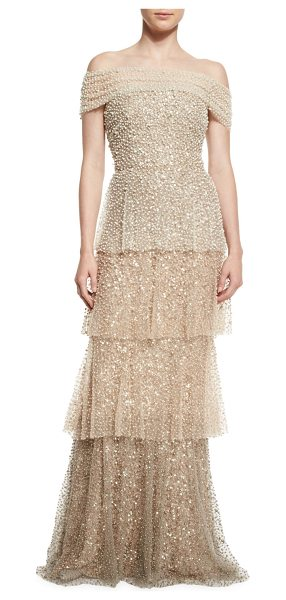Badgley Mischka Couture Pearly Ombre Tiered Gown in gold - Badgley Mischka Couture pearly ombre tulle gown....