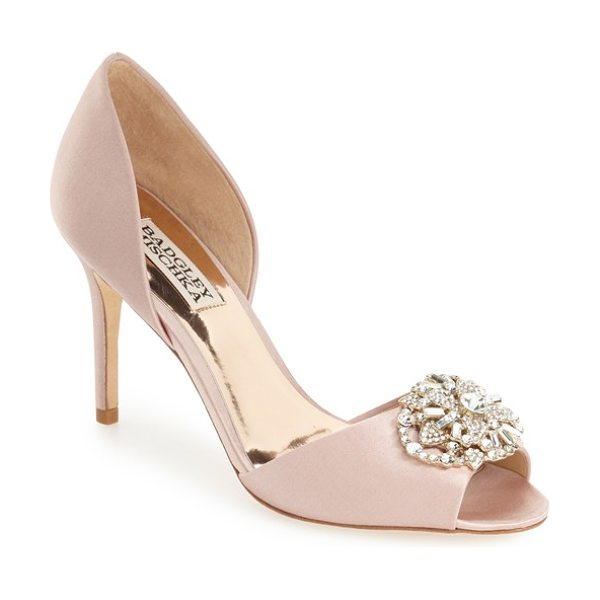 Badgley Mischka 'dana' crystal embellished d'orsay pump in blush satin - An elaborate crystal brooch glams up an elegant satin...