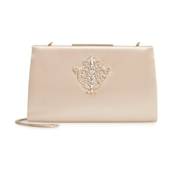Badgley Mischka dare satin clutch in nude - A crystal-encrusted frame clutch dazzles as an elegant...