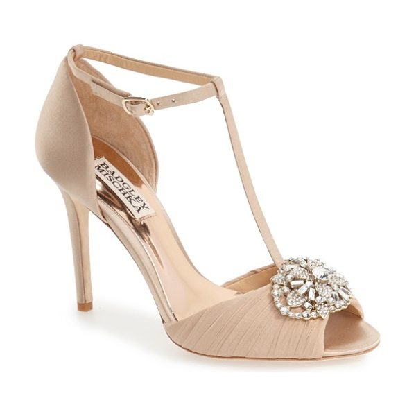 Badgley Mischka 'darling' t-strap pump in latte satin - A sparkling crystal ornament and pleated chiffon...