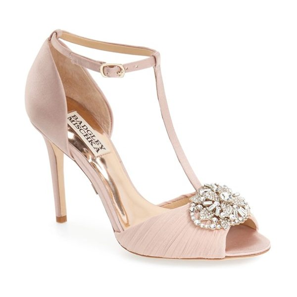 Badgley Mischka darling t-strap pump in blush satin - A sparkling crystal ornament and pleated chiffon...