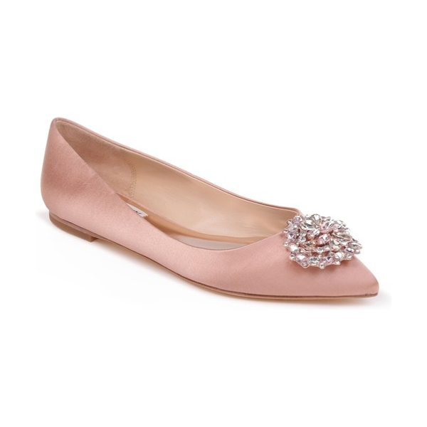 BADGLEY MISCHKA 'davis' crystal embellished pointy toe flat - A dazzling crystal brooch glams up the pointy toe of a...