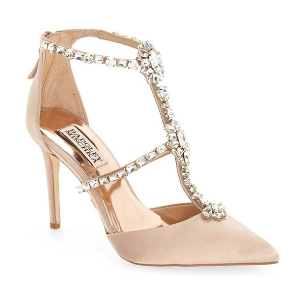 Badgley Mischka 'decker' crystal embellished t-strap pump in latte satin - Slender rows of shimmering crystals climb the T-strap...