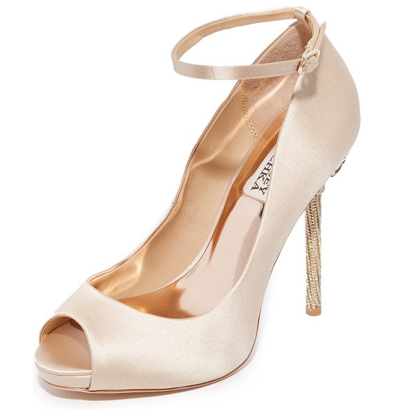 Badgley Mischka diego ankle strap pumps in nude - A sparkling crystal-encrusted heel adds glamour to these...