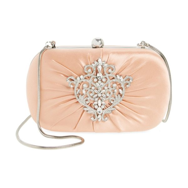 Badgley Mischka diva satin clutch in misty rose - A shimmering crystal ornament adds eye-catching elegance...