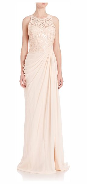 Badgley Mischka draped sequin lace gown in blush - Sequined lace bodice tops elegantly draped skirt....