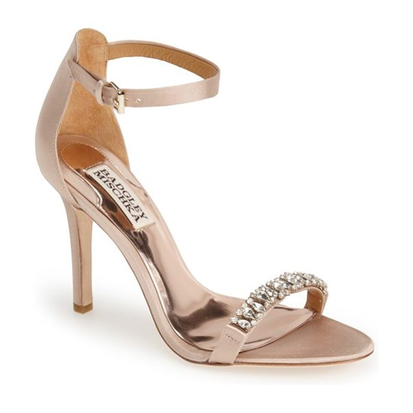 Badgley Mischka elope crystal embellished sandal in latte satin - The season's favorite ankle-strap silhouette is all...