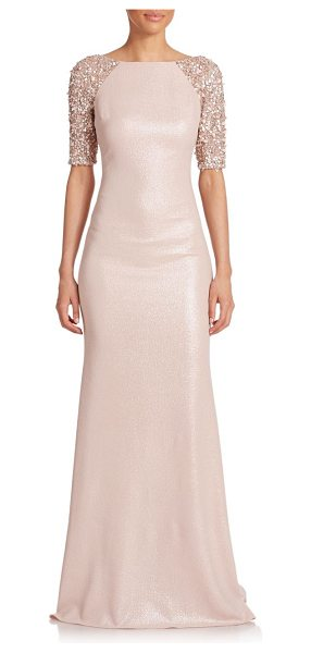 Badgley Mischka Embellished raglan-sleeve gown in blush - Delicate tonal beading tones down the sporty-inspired...