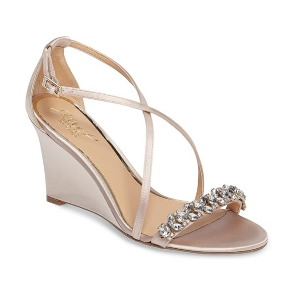 BADGLEY MISCHKA embellished strappy wedge sandal - A celebration of slender curves and outsize sparkle,...