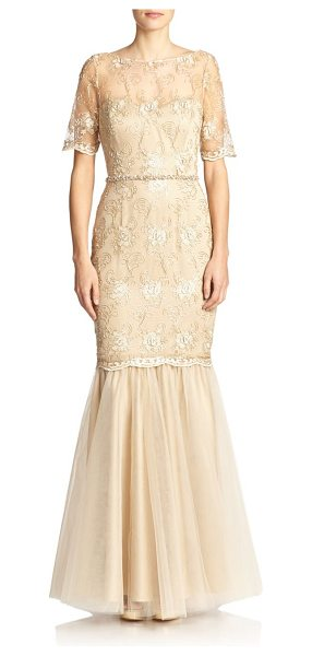 Badgley Mischka Embroidered floral mermaid gown in gold - Intricate floral embroidery elevates this timeless...