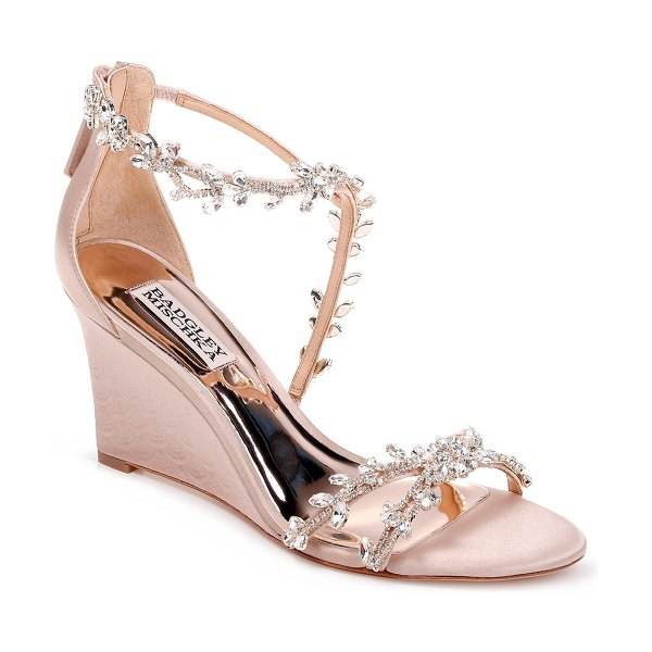 Badgley Mischka Feather Crystal Wedge Sandals in latte