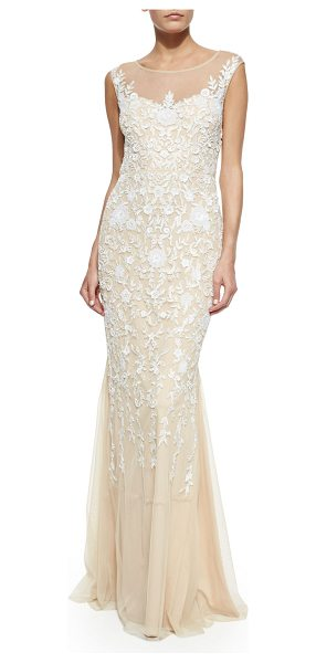 BADGLEY MISCHKA Floral-Embroidered Tulle Gown - Tulle gown with floral embroidery by Badgley Mischka...