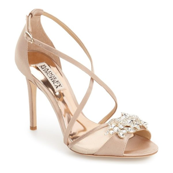 BADGLEY MISCHKA 'gala' crystal embellished evening sandal - An elaborate crystal brooch enlivens the flirty...
