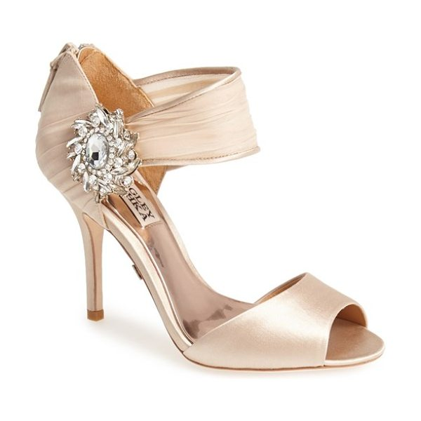 Badgley Mischka gayla peep toe sandal in nude - A radiant brooch rests where a swath of gathered chiffon...