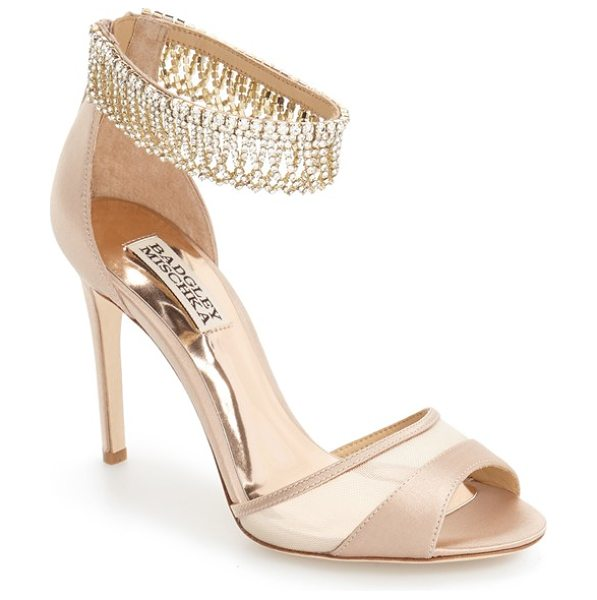 BADGLEY MISCHKA 'gazelle' ankle strap sandal - Polished chains of scintillating crystals sparkle along...