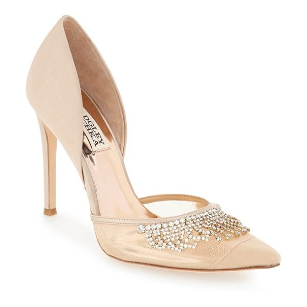 Badgley Mischka 'genna' embellished d'orsay pump in nude satin - Peekaboo mesh dripping with radiant sparkle defines the...