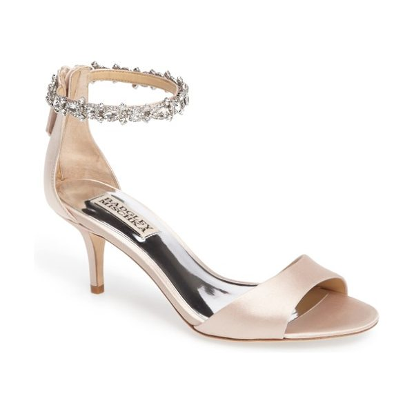 BADGLEY MISCHKA geranium embellished sandal - Dazzling crystals encircle the ankle of an open-toe...