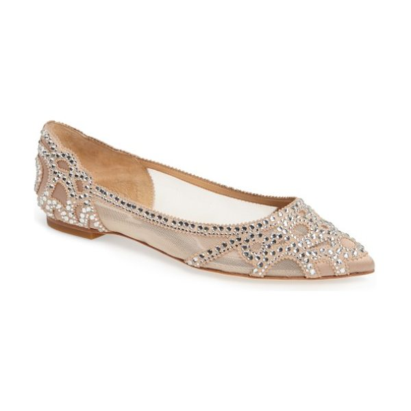 Badgley Mischka badgley mischka gigi crystal pointy toe flat in beige - You'll dazzle in these scene-stealing pointy-toe flats...
