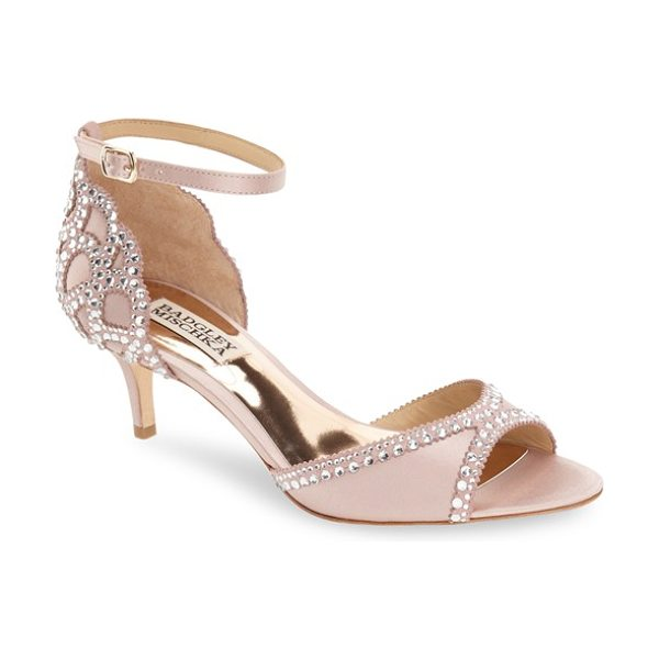 Badgley Mischka 'gillian' crystal embellished d'orsay sandal in blush satin - Multi-size crystals curve along the open d'Orsay toe and...