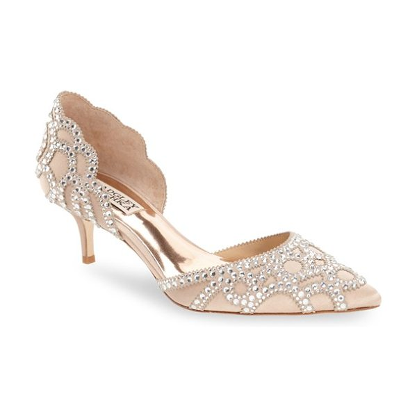 Badgley Mischka 'ginny' embellished d'orsay pump in latte satin - Sparkling crystals ornament the scalloped lines of this...