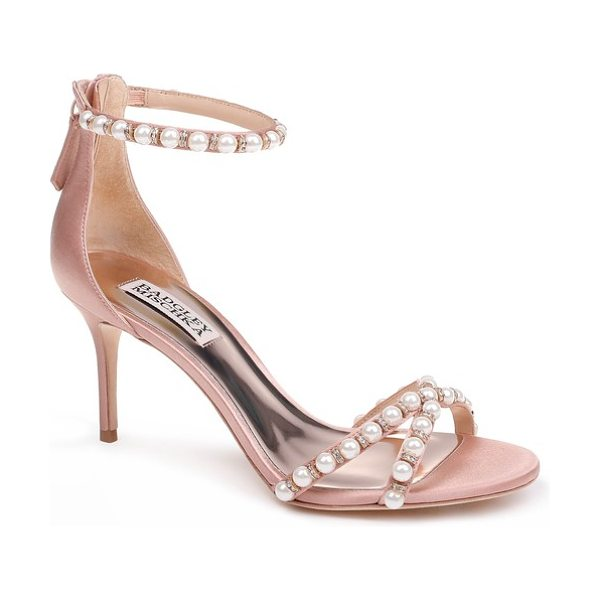 Badgley Mischka hannah embellished ankle strap sandal in pink - Pearly beads and sparkling crystals embellish the thin...