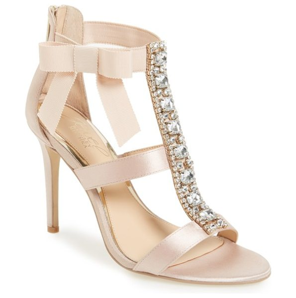 JEWEL BADGLEY MISCHKA henderson embellished bow sandal in champagne satin - A wide, crystal-finished T-strap adds indulgent detail...