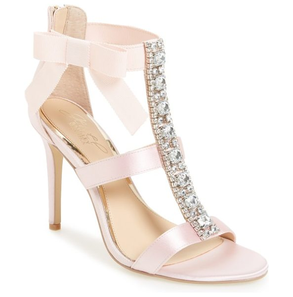 BADGLEY MISCHKA henderson embellished bow sandal - A wide, crystal-finished T-strap adds indulgent detail...