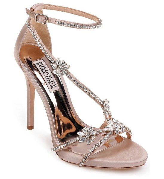 Badgley Mischka hodge strappy sandal in latte satin - Shimmering crystals amp up the glamour of a...