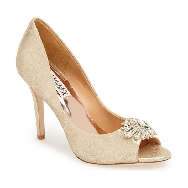 Badgley Mischka hollie pump in platino metallic suede - A sparkling crystal ornament accents the peep toe of an...