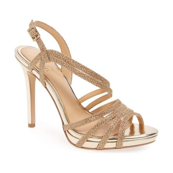 JEWEL BADGLEY MISCHKA humble strappy sandal in gold glitter fabric - Two slender straps sweep diagonally up the front of an...