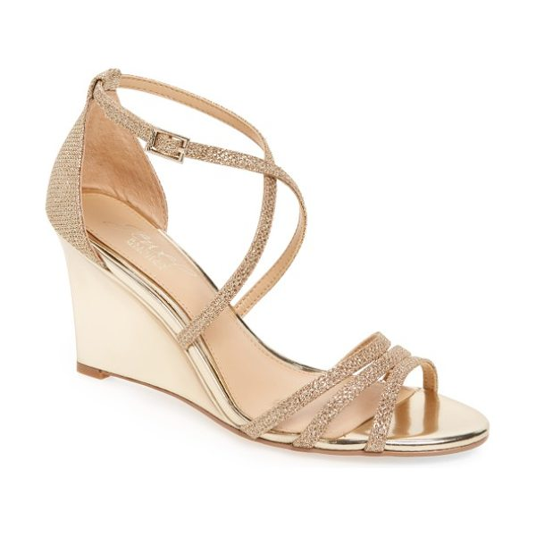 JEWEL BADGLEY MISCHKA hunt glittery wedge sandal in metallic - Slender curving straps add shimmer and light to a...