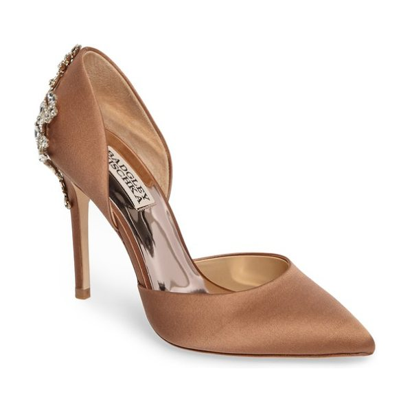 Badgley Mischka karma embellished pump in dark nude satin - A crystal-encrusted filigree brings stately elegance to...