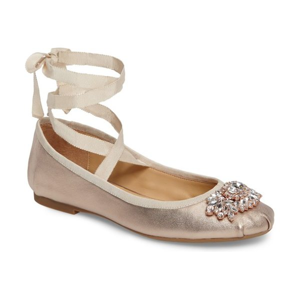 Badgley Mischka karter ii embellished ankle wrap ballet flat in rose gold leather - A signature crystal brooch sparkles brightly atop a...