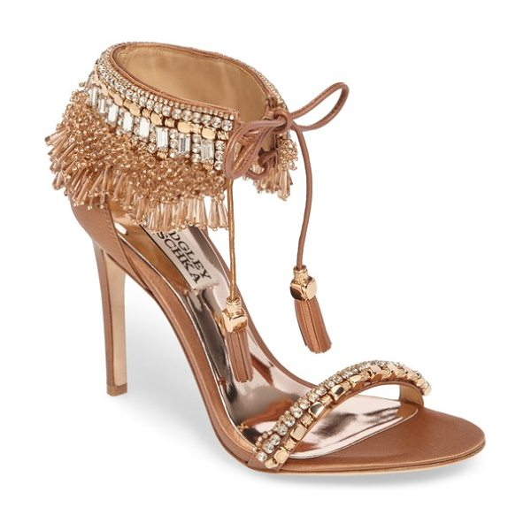 Badgley Mischka katrina embellished tie sandal in dark nude leather - Luminescent beading, baguette crystals and gleaming...