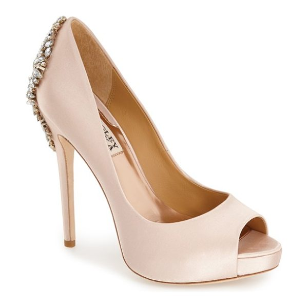 Badgley Mischka 'kiara' crystal back open toe pump in blush satin - Indulge in decadence with this stunning platform pump....