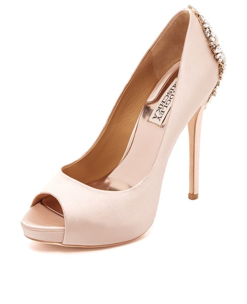Badgley Mischka kiara pumps in blush - Shimmering crystals accent the heel on these glamorous...