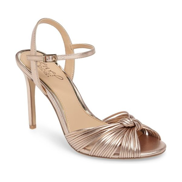 Badgley Mischka lady ankle strap sandal in rose gold leather - A knotted strap enhances the dramatic sophistication of...