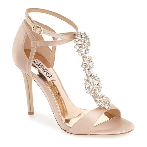 Badgley Mischka leigh embellished evening sandal in latte satin