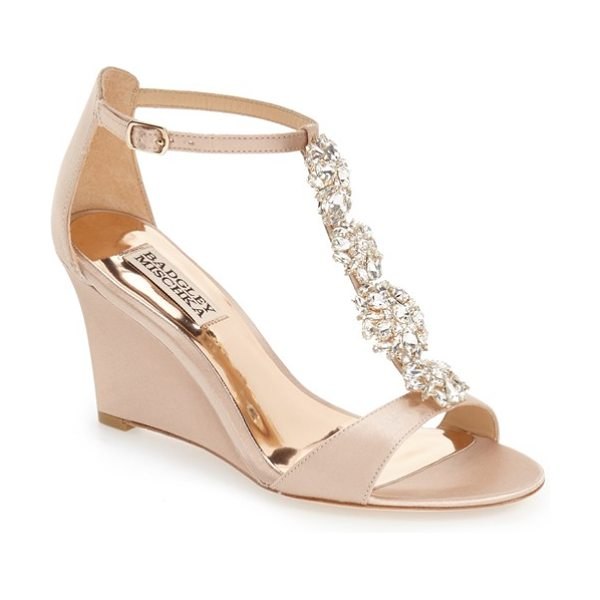 Badgley Mischka lovely embellished wedge sandal in latte satin - A dazzling quartet of crystal brooches dials up the...
