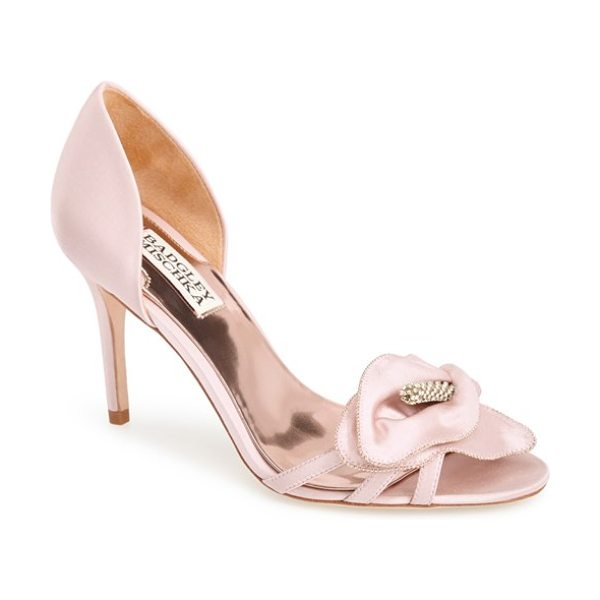 BADGLEY MISCHKA meribeth dorsay pump - A calla lily-inspired bloom encrusted with sparkling...
