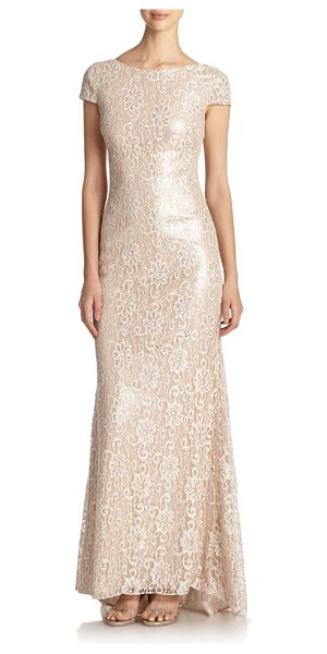 BADGLEY MISCHKA Metallic lace backless gown - This evening gown of pale, feminine floral lace, beset...