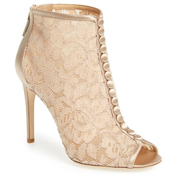 Badgley Mischka nerina lace bootie in latte lace - A column of satin-wrapped faux buttons accents gorgeous...