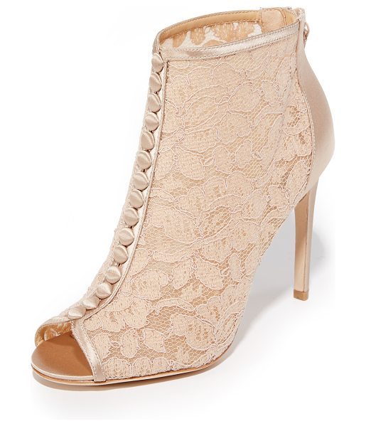 Badgley Mischka nerina lace open toe booties in latte - These open-toe Badgley Mischka booties are made from...