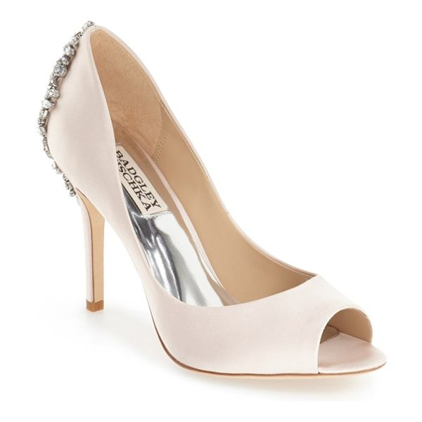 Badgley Mischka 'nilla' peep toe pump in light pink satin - An extravagant array of crystals crowns a shimmery satin...