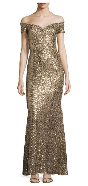Badgley Mischka OFF SHLDR SWTHRT SQN GWN in gold - Badgley Mischka OFF SHLDR SWTHRT SQN GWN