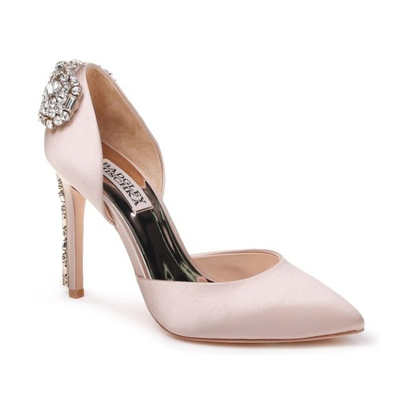 Badgley Mischka parker pump in nude satin - A crystal-encrusted heel adds an extra flash of sparkle...