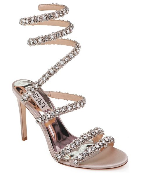 Badgley Mischka peace crystal ankle wrap sandal in nude satin - Crystal-embellished straps sparkle and shine on a...